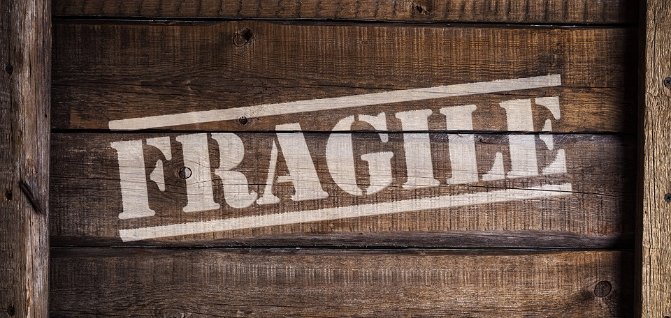 Wooden crate with lettering fragile