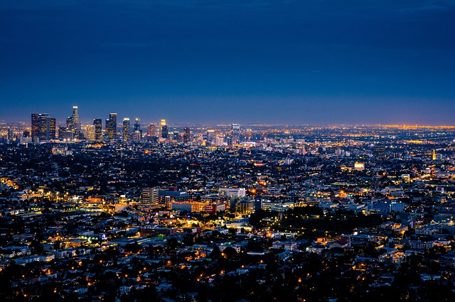 A skyline of LA at night.