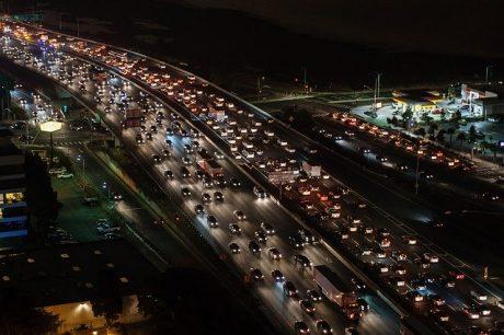 Traffic jam at night.