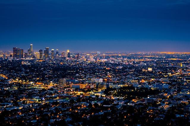 A skyline of LA at night.