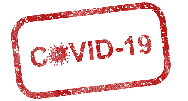 A COVID-19 logo, representing dangers of moving in LA during COVID-10 outbreak