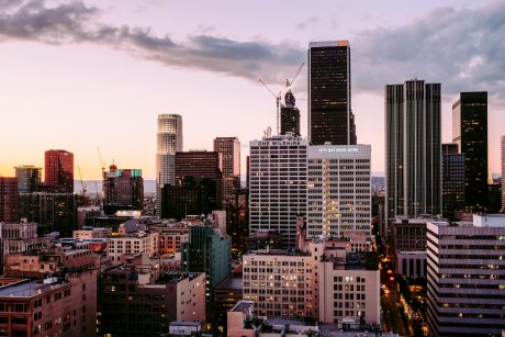 Los Angeles, CA, city center in the evening
