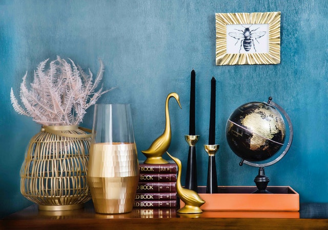 Home décor details and accessories on a table.