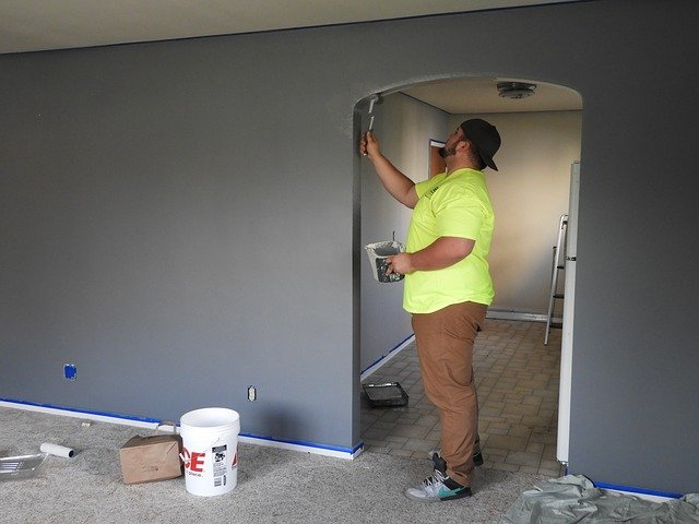 Using plastic floor covering during the paintjob is a surefire way to protect your floor while renovating.