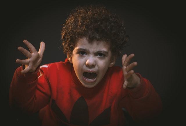 A child yelling.