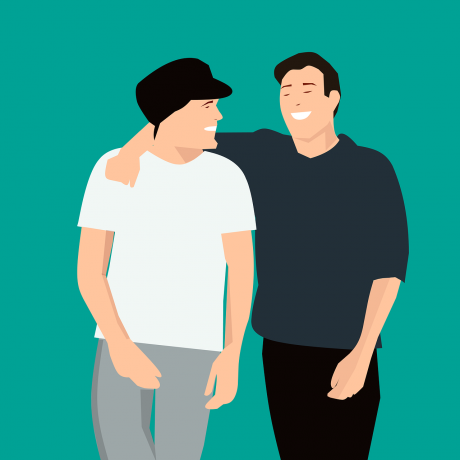 An illustration of a friendly talk between two people.
