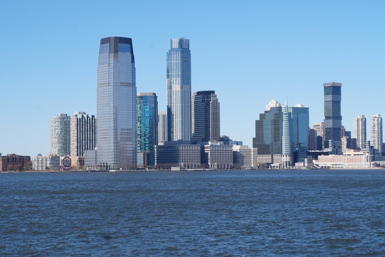 a waterfront view of Jersey City.