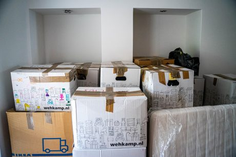 Items packed in boxes, ready for the move.