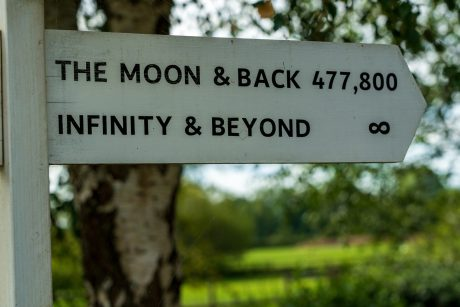 A funny sign with directions to the Moon and Infinity. The distance of your move is very important when talking about the different types of moving services .